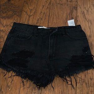 Abercrombie & Fitch black denim shorts